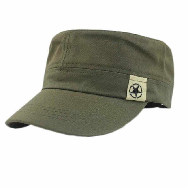 3b15dd7b3834a 2017 Moda Unissex Chapéu Cadet Patrol Telhado Plano Militar Chapéu Mato Boné  de Beisebol