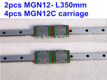 Free shpping for Minuture 12mm Linear Guide MGN12 -L350mm linear way with MGN12C linear blocks 1pcs mgn12 l350mm linear rail 1pcs mgn12c