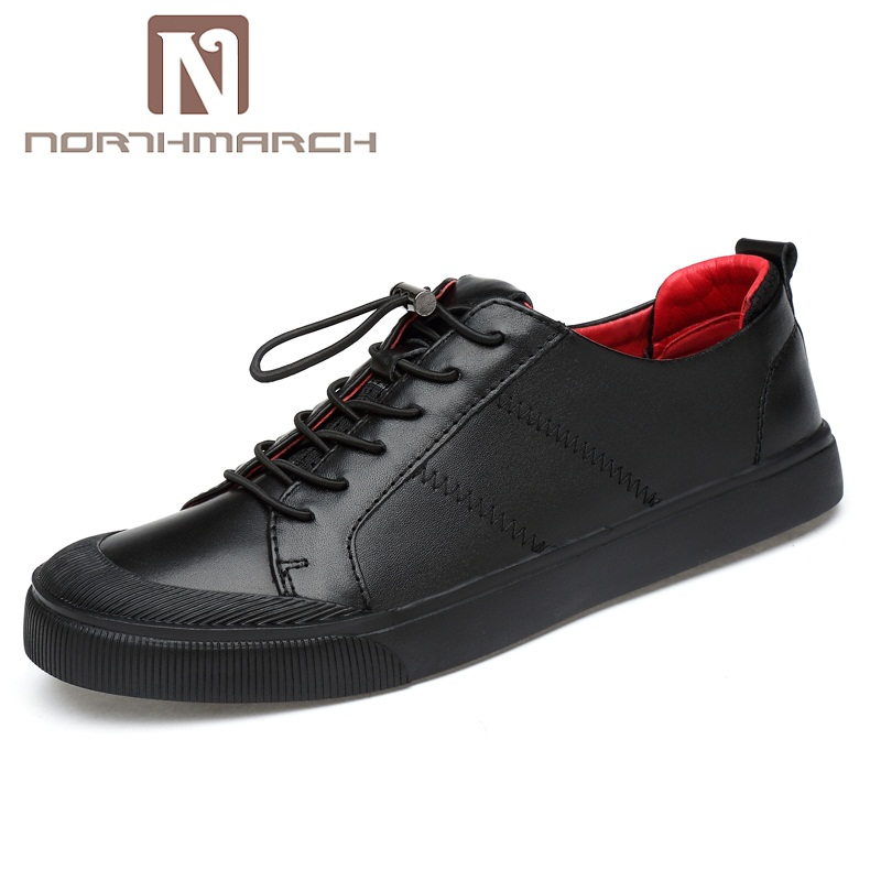 NORTHMARCH Casual Men Shoes Genuine Leather Lace Up Wear-Resistant Men's Fashion Comfortable Sneakers Men Spring Moccasins fashion genuine leather men shoes wear resistant bottom black sneakers men cool adult casual shoes footwear krasovki zapatillas