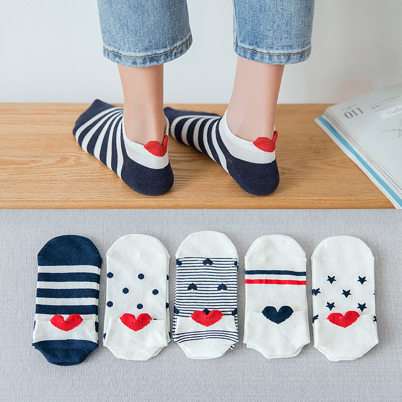 Cute Socks Women Cotton Heel Stereoscopic Heart Print Short Socks Comfortable Casual Breathable Streetwear Socks For Female