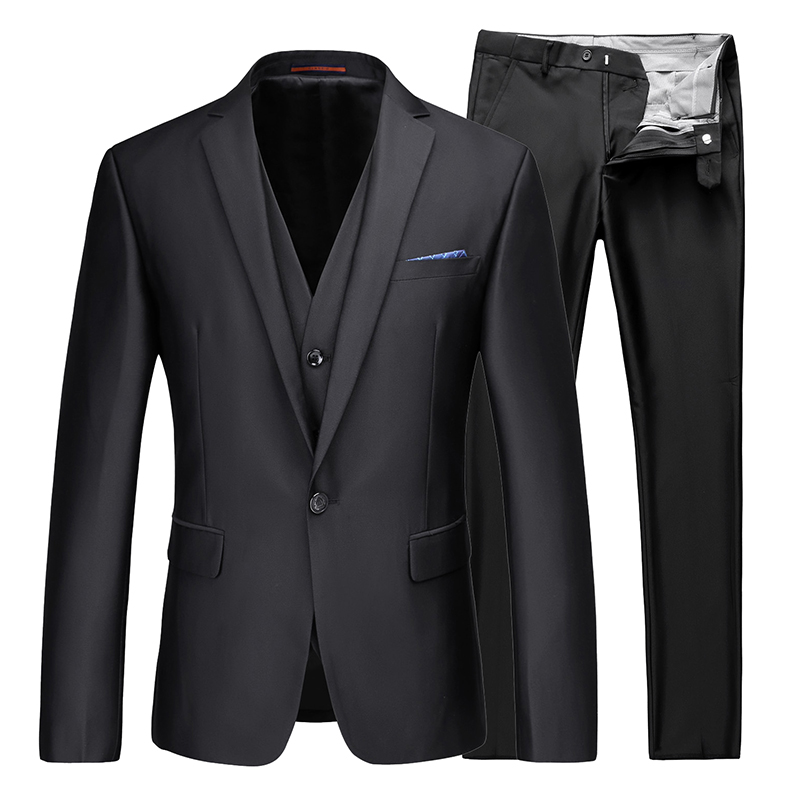 (Front + Pants + Vest) High-end Fashion Suit Men's Glossy Face Groom Groom Wedding Suit Large Size Casual Business Suit Men