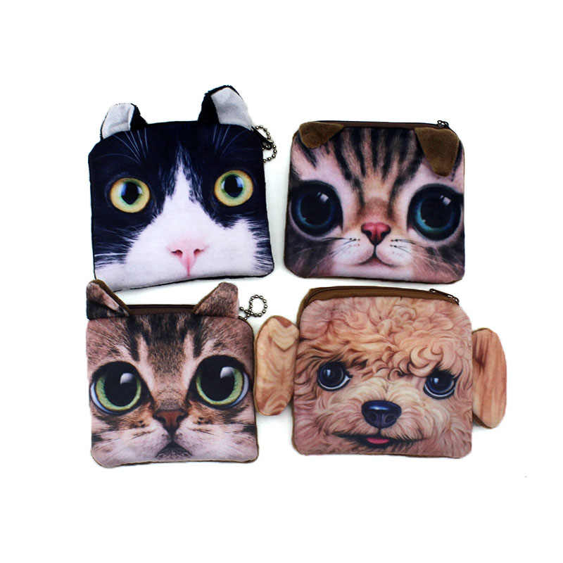 Promotion 3D Square Animal Prints Mini Children Coin Bags Women Storage Pouch Cute Cat Dog Wallets Kids Coin Purses Card Holders