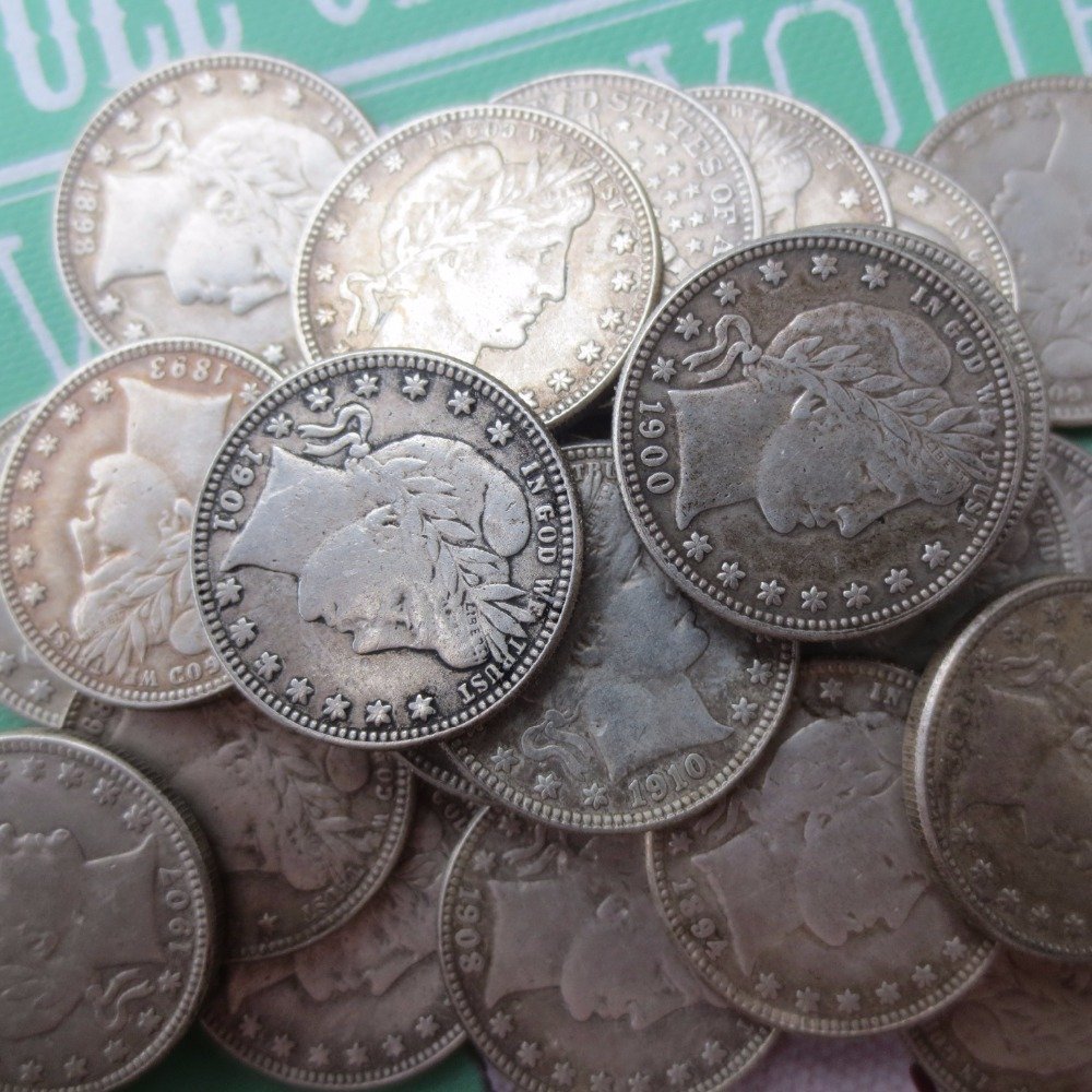 90% silver or silver plated U.S. Coins Mixed date Barber Quarter Dollars Retail / Whole  ...