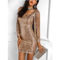 Luxury women sequin dress party 2018 Sparkle Glitzy Glam Sequin Tassel Long Sleeve Flapper Party Club bodycon dress femme D14