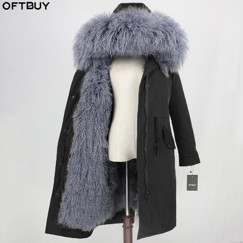 OFTBUY X-long Waterproof Parka Natural Mongolia Sheep Fur Real Fur Coat Winter Jacket Women Warm Detachable Streetwear Outerwear