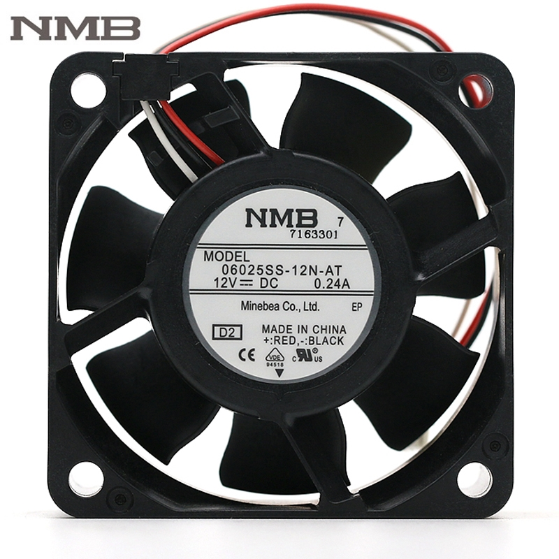 Original NMB 06025SS-12N-AT 6025 12V 0.24A 6cm dual ball cooling fan 23.3CFM 4700RPM original delta afb0912shf 9032 9cm 12v 0 90a dual ball bearing cooling fan