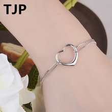 TJP Simple Heart Fashion Girl Party Accessories Popular 925 Sterling Silver Women Bangle Jewelry Wedding  Engagement popular good quality gift silver jewelry bangle pink love heart famous crystals 925 pure silver bangle