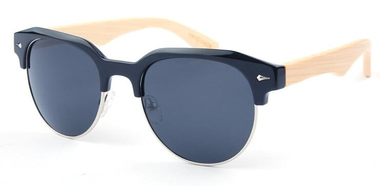 Click here to Buy Now!! BerWer Demi Cadre Bambou lunettes de Soleil Hommes Bois  Lunettes de Soleil Pour Femmes D b63133dfbf49