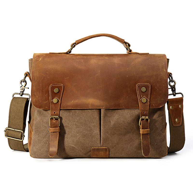 Premium New Mens Canvas Briefcase Business Shoulder Crossbody Bag Messenger Laptop Bag HandbagPremium New Mens Canvas Briefcase Business Shoulder Crossbody Bag Messenger Laptop Bag Handbag
