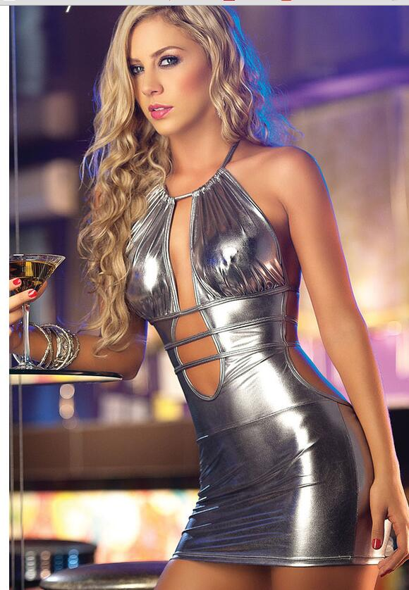 Babydoll <font><b>Lingerie</b></font> <font><b>Sexy</b></font> Hot <font><b>Erotic</b></font> <font><b>Lingerie</b></font> For Women <font><b>Latex</b></font> Leather Backless Night Clubwear Pole Dance Dress <font><b>Sexy</b></font> Costumes image