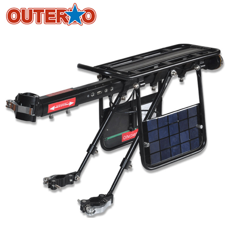 OUTERDO Black Aluminum Alloy Bike Bicycle Cargo Racks Solar Charge Built-in USB Interface Cycling Rear Seat Luggage Holder