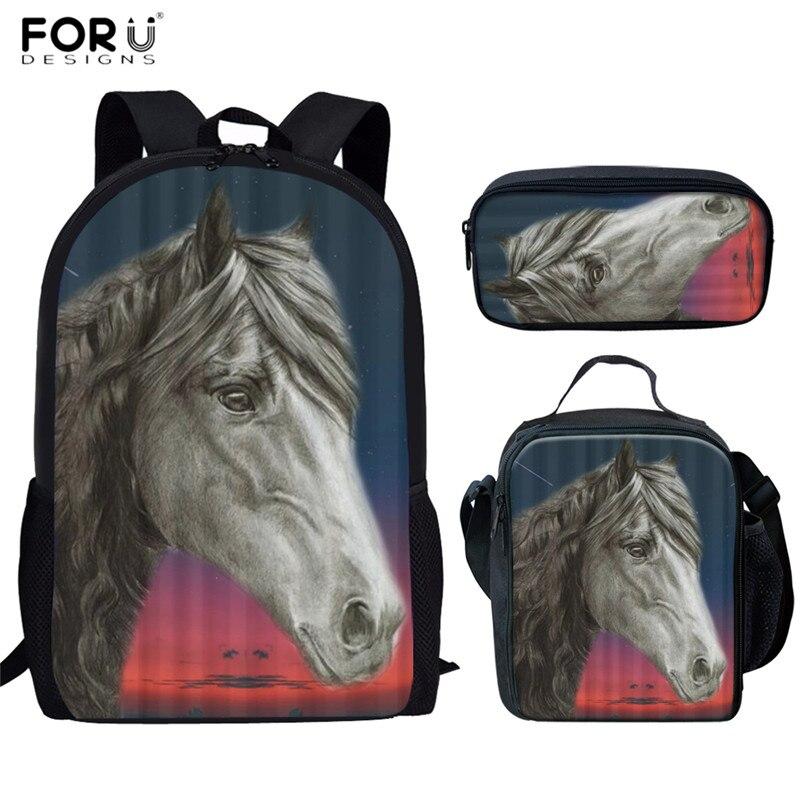 FORUDESIGNS 2019 Newest School Bags Friesian Horse Print 3pcs/set School Backpacks For Teen Boys Mountain Pleasure Horse Bookbag