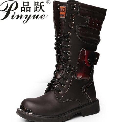 Armée Bottes Hommes Militaire de Combat En Cuir Boucle En Métal Mâle Moto Punk Bottes Hommes Chaussures de Rock Zapatillas Deprtivas Hombre