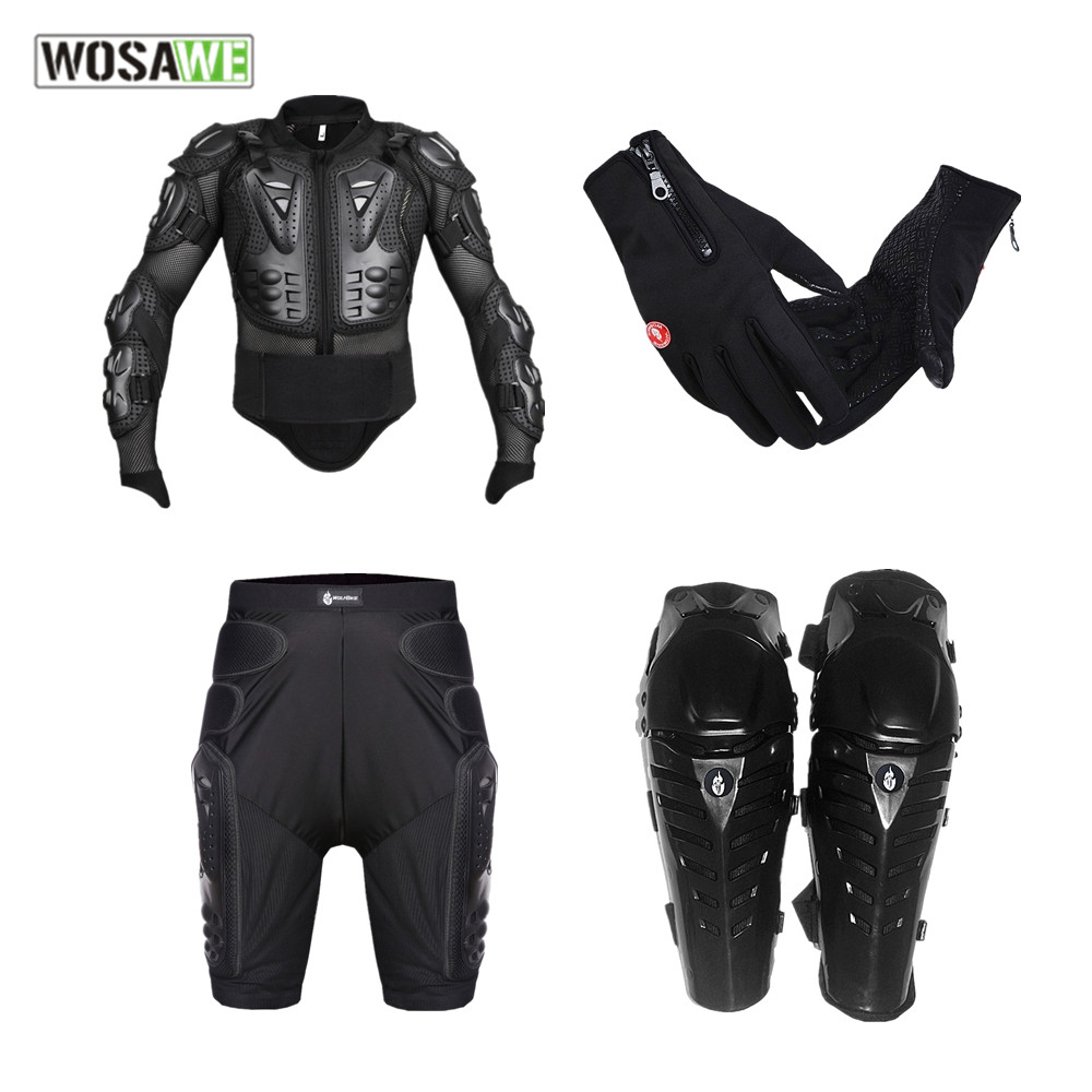 WOSAWE motorcycle jacket Armor sets Body Protective Gears gloves Short Pants protective Knee Pad set Motocross body armor
