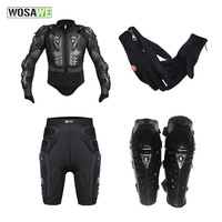 WOSAWE motorcycle jacket Armor sets Body Protective Gears gloves Short hip pad protective Knee Pad set Motocross body armor