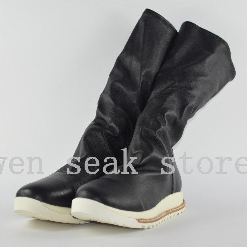 Do Sapatas Carneiro Casual Inverno Formadores Homens Shoes Preto Dos 18ss Cano Owen Couro Altura Seak Joelho De Na Luxo Sneaker Pele Flats Grande Alto Botas qxFCnEn0R
