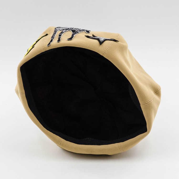 Женские брендовые зимние берет Шапки Беретки для женщин Элегантный французский берет Карамельный цвет Зебра вышивка Шапки Baret шапки boinas Mujer