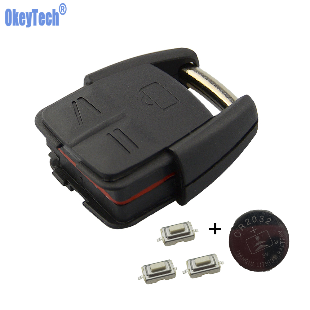 OkeyTech Replacement Car Key Stying Remote Fob Case Cover With CR2032 Battery 3PCS Switch For Opel VAUXHALL VECTRA ASTRA ZAFIRA