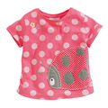 Little Maven Brand New Summer Girls Pink Ladybug Short Sleeve O-neck  Dots Soft Knitted Cotton Causal TShirt