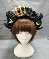 Evil Witch Halloween Black Roses Flower Deluxe Horn Cosplay Fancy Dress Crown Headband Gothic