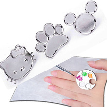 hot deal buy mini 1 piece nail art metal finger ring palette mixing acrylic uv gel polish painting drawing color paint dish manicure tools