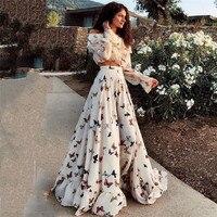 2018 Women Autumn Sexy Print Dress Party Vintage Elegant Casual Fashion White Maxi Dress Plus Size