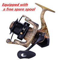 Full Metal Fishing Spinning Reel 12 + 1 Ball Bearings Distant Wheel CNC Handlebar Desert Camouflage Fish Reel Carp Reels Pesca