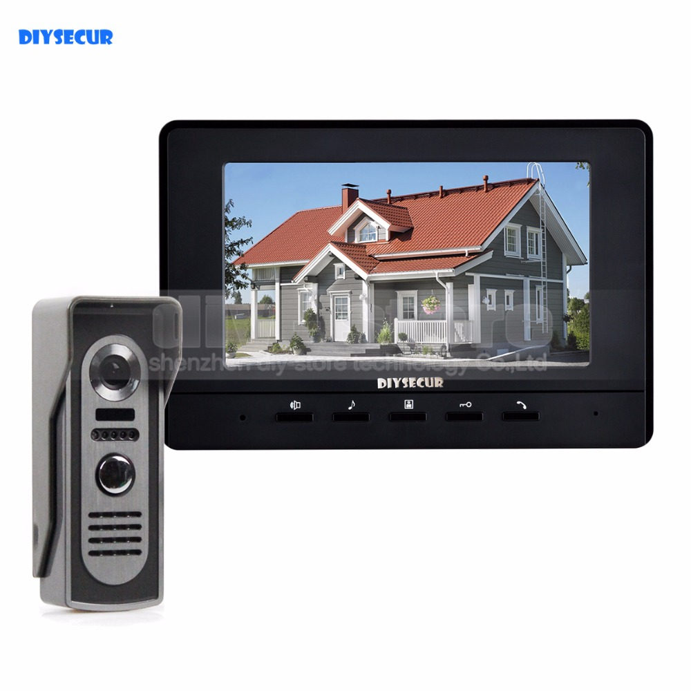 DIYSECUR 600TV Line 7inch Video Intercom Video Door Phone IR Night Vision Outdoor Camera Black 1v1