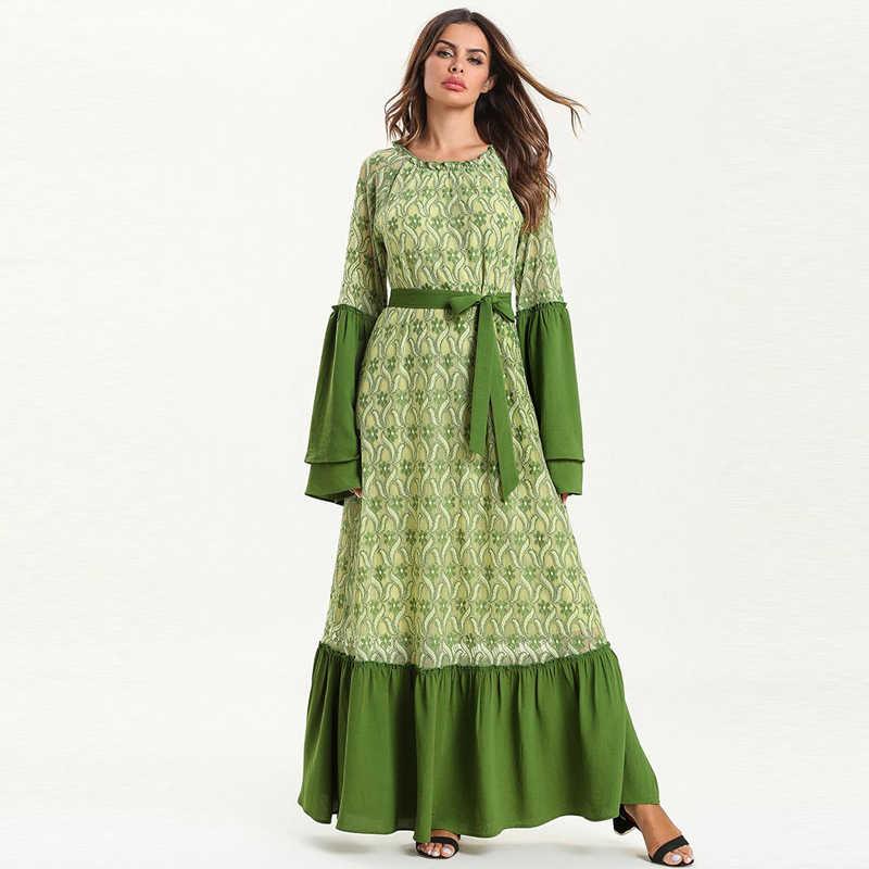 Vestidos кружевной кафтан абайя Дубай исламский, арабский мусульманское платье хиджаб женское Elbise Ramadan Eid платья Robe Femme Sukienki