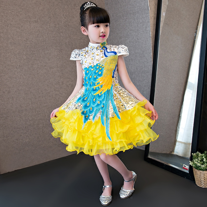 2017New High Quality Chinese Luxury Embroidery Children Girls Dress Kids Birthday Wedding Party Sequined Summer Costume