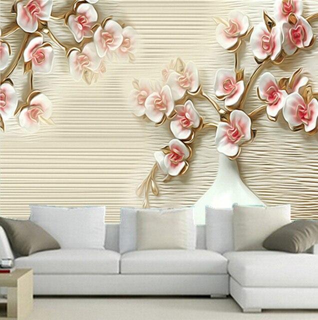 Us 15 37 47 Off The Latest 3d Wallpaper 3d Jade Wallpaper Flowers And A Vase Papel De Parede Tv Wall Living Room Sofa Wall Bedroom Wallpaper In