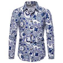 Linen Mens Long sleeve Shirt National style dress Shirts Dress Flower Casual Blouse Men Blue New