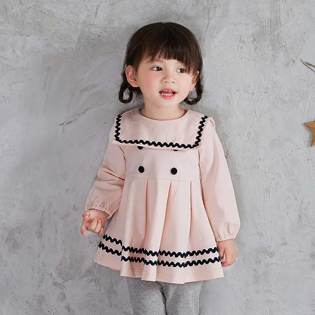 0-3T Baby Girl Clothing Spring New Version Campus Style Dress Newborn Princess  Vestido Infantil 1 Year Birthday Dress 8812