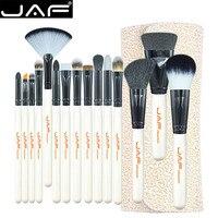 JAF Brand 15 Piece Makeup Brush Kit Super Soft Hair PU Leather Case Holder Make Up