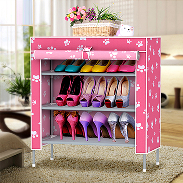 Classic Portable Fabric Shoes Rack 4 layer 3 grid cover living room ...