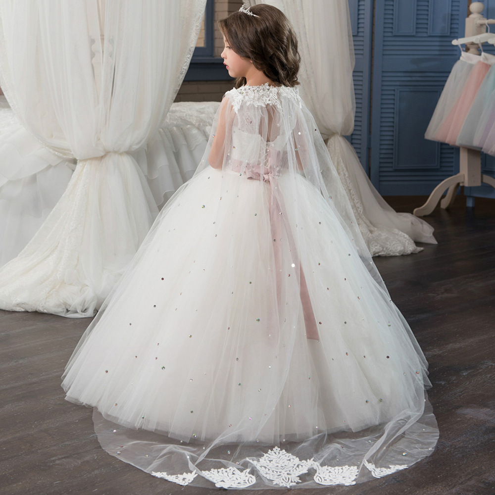 First Communion   Dresses   for   Girls   Long Sleeves Solid O-Neck Lace Ball Gown   Flower     Girl     Dresses   for Weddings Birthday Vestidos