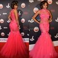 2015 Bonang Matheba знаменитости платье Pink русалка рукавов высокого шеи вечерние платья цветы кружева вечерние платья
