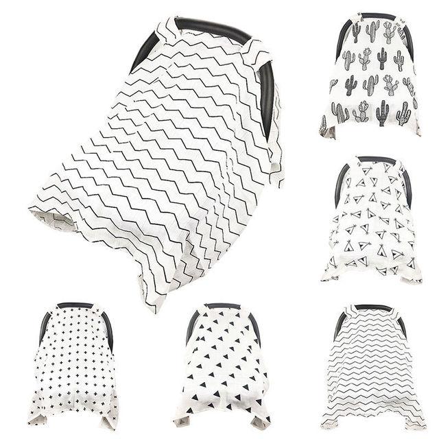 Baby Stroller Accessories Muslin Blanket Car Seat Cover Sunshiled Sunshade Safety Basket Cart Cradle Cap Visor