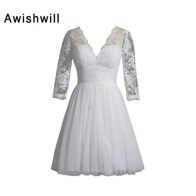 Online Shop 2018 Elegant Little White Dress V Neck 34 Sleeve Knee