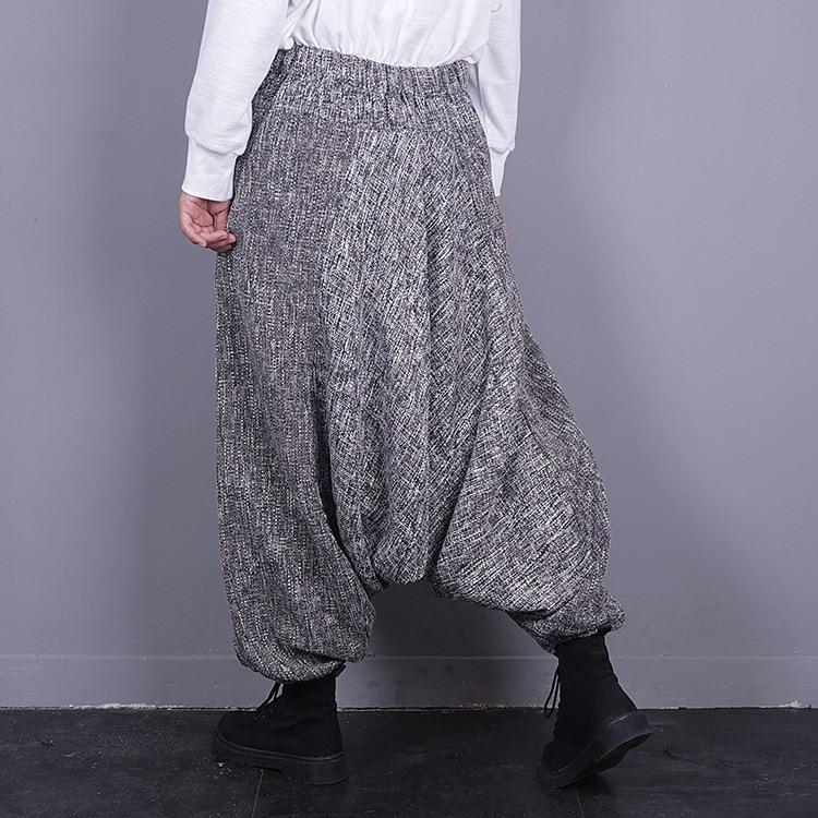 Algodón Gran Coreano Pantalones Otoño Cintura Lino Natural Invierno De Falda Gris Tamaño La 2018 Marea 84qfwf