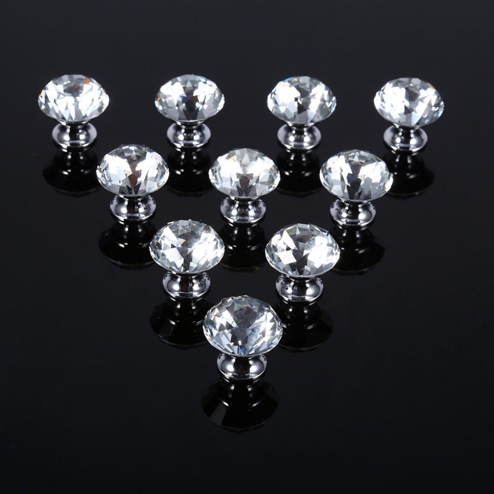 10PCS Lot 30mm font b Diamond b font Shape Crystal Glass Pull Handle font b Kitchen