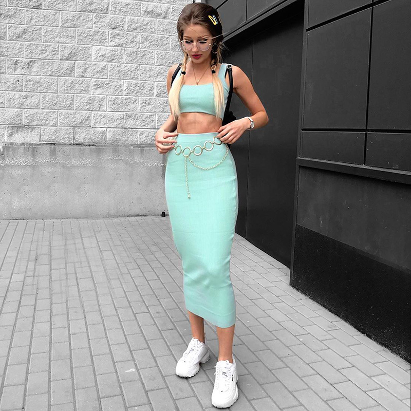 Dulzura neon ribbed knitted women two piece matching co ord set crop top midi skirt sexy festival party 2019 winter clothing 15