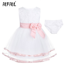 Baby Girl Embroidered Sleeveless 3D Flower Girl Dresses Princess Pageant Wedding Bridesmaid Party Dress with Bloomers Outfit Set