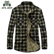 AFS JEEP 2016 Autumn men's casual brand red plaid long sleeve shirt man spring 100% pure cotton fashion green grid shirts A636