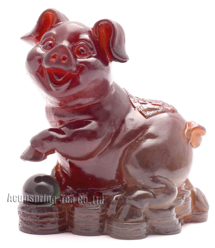 Yellow Pig, Lucky Charms,Chinese zodiac,Shenxiao,Allochroic Mascot,fengshui Ornament,novel gifts,Amazing present,Tea pet S1015BZ