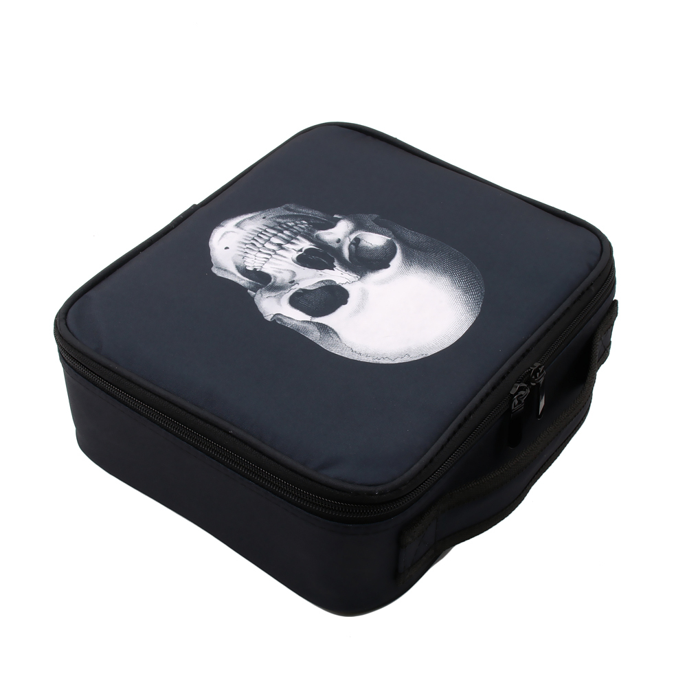 Image 3 - Deanfun Skull Makeup Case Portable Cosmetic Bag Black Train Cases with Adjustable Dividers Travel Organizer 16002-in Cosmetic Bags & Cases from Luggage & Bags
