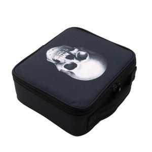Image 3 - Deanfun étui de maquillage crâne Portable sac cosmétique noir cas de Train avec diviseurs réglables organisateur de voyage 16002