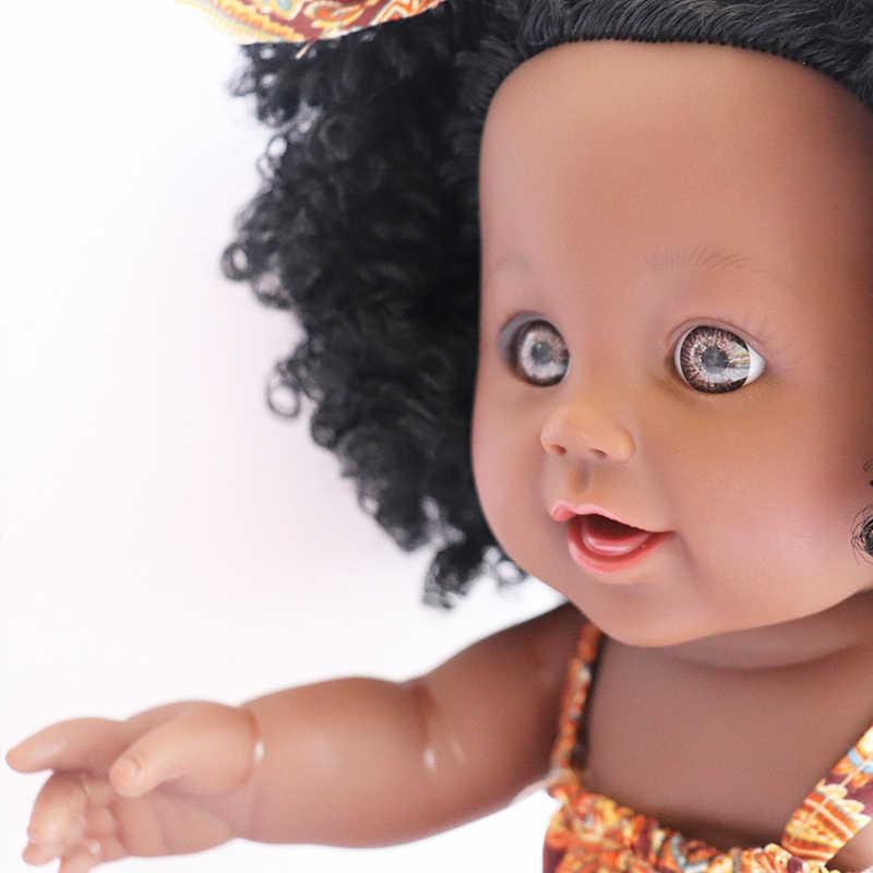 Африка, для девочек, детская одежда, куклы, большая 30 см 12 дюймов искусственный ПВХ мягкий новорожденного для маленьких девочек куклы детские игрушки с плотным мехом, черный желтый ткани с орнаментом «Рождественские