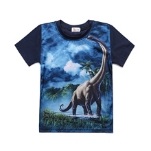 Fashion 3D Print Baby Boy Dinosaur T-shirt Brontoon Children Clothes Casual Cartoon Summer Kids T Shirt For 2-8Y
