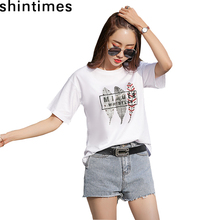 shintimes 2019 The New Summer Korean Casual T Shirt Women Letter O-Neck Loose Cotton Short Sleeve Tshirt Clothes Tee Femme
